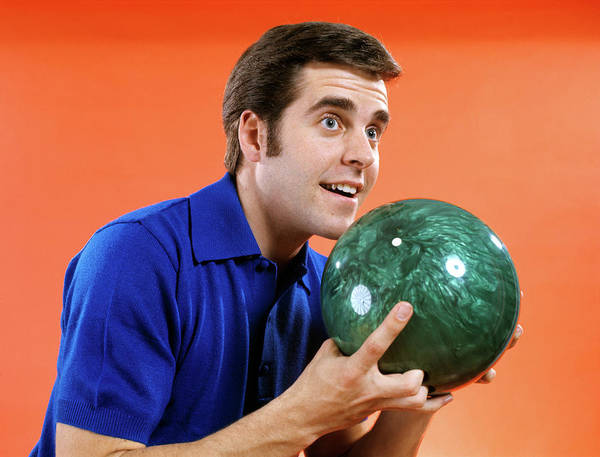 Ten Pin Bowling Wall Art - Photograph - 1970s 1960s Close Up Of Young Man by Vintage Images