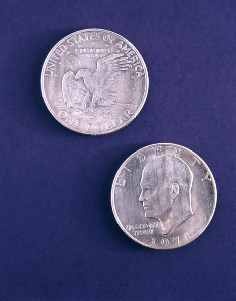 In God We Trust Photograph - 1970s 1971 Eisenhower Dollar Both Sides by Vintage Images