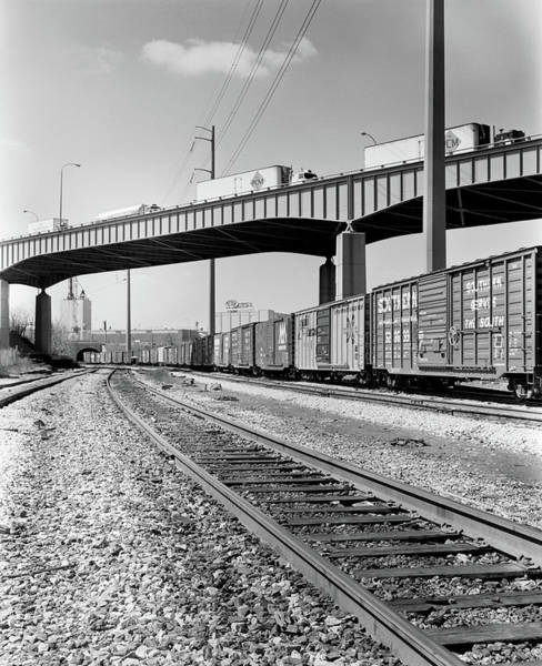 Trailer Photograph - 1970s Angled View Of Freight Train by Vintage Images