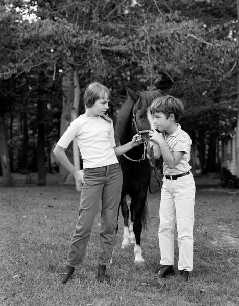 Girl And Horse Photograph - 1970s Boy & Girl Standing by Animal Images