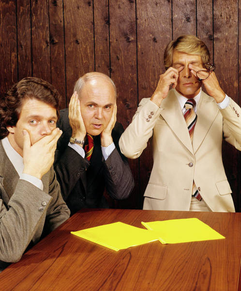 Office Manager Wall Art - Photograph - 1970s Businessmen As Three Wise Monkeys by Vintage Images