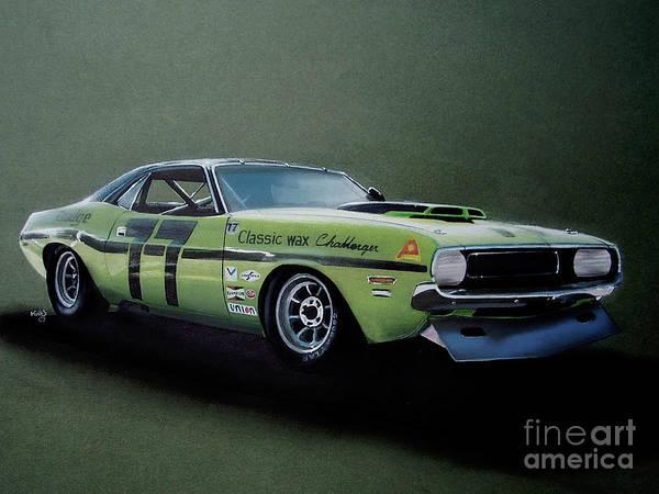 American Car Drawing - 1970's Challenger Race Car by Paul Kuras