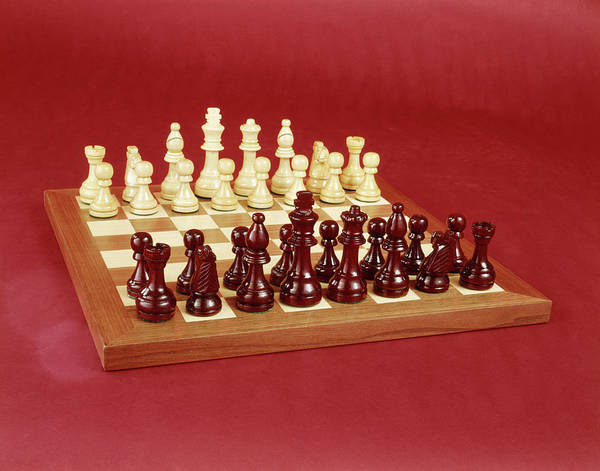 Rook Photograph - 1970s Chess Set Arranged On Board Still by Vintage Images