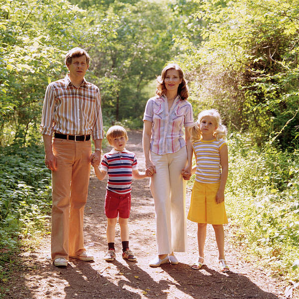 Wall Art - Photograph - 1970s Family Walking Outdoors Spring by Vintage Images
