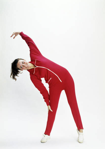 Workout Photograph - 1970s Girl Exercising In Red Gym Jump by Vintage Images