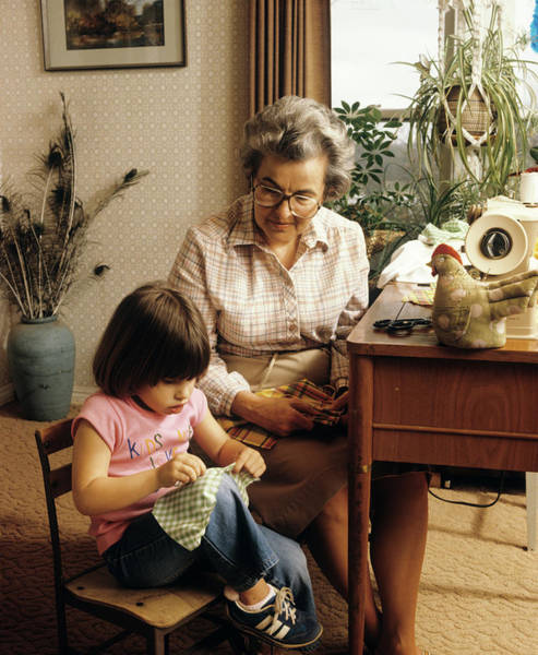 Wall Art - Photograph - 1970s Grandmother And Granddaughter by Vintage Images