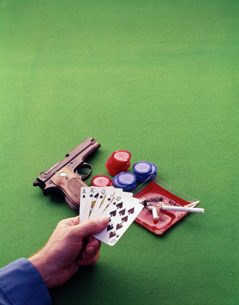 Space Gun Photograph - 1970s Hand Holding Royal Straight Flush by Vintage Images