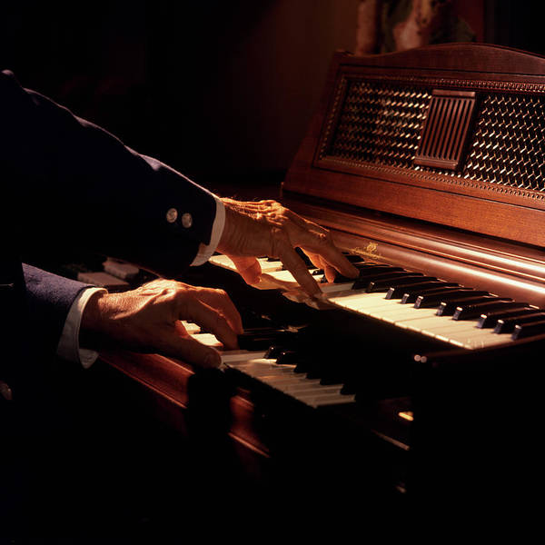 Wurlitzer Photograph - 1970s Hands Playing A Wurlitzer Organ by Vintage Images