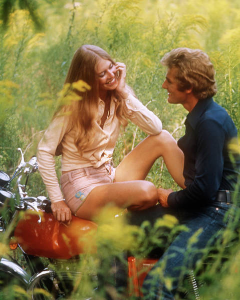 Motoring Photograph - 1970s Happy Young Romantic Couple Man by Vintage Images