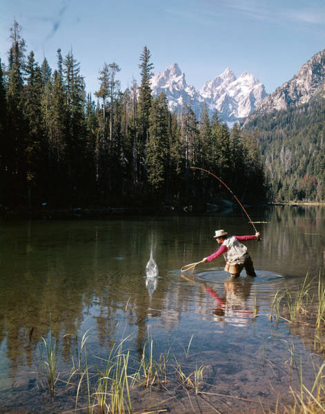 Fly Fishermen Photograph - 1970s Man Fisherman Red Shirt In Rocky by Animal Images