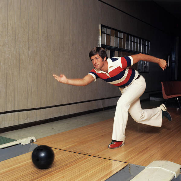 Bowling Alley Photograph - 1970s Man Striped Shirt Bell Bottom by Vintage Images