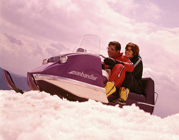 Wall Art - Photograph - 1970s Man Woman Couple Snowmobile by Vintage Images