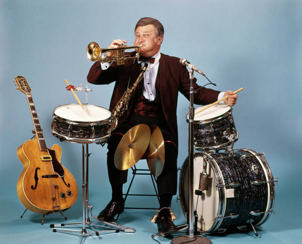Talent Photograph - 1970s One Man Band With Drums Cymbals by Vintage Images