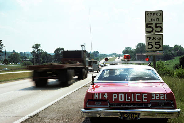 Space Gun Photograph - 1970s Police Car With Radar Gun by Vintage Images