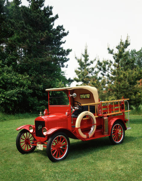 Vintage Fire Truck Photograph - 1970s Red 1924 Model T Ford Fire Truck by Vintage Images