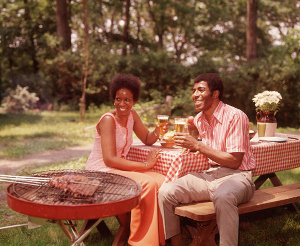 Barbecue Photograph - 1970s Smiling African American Couple by Vintage Images