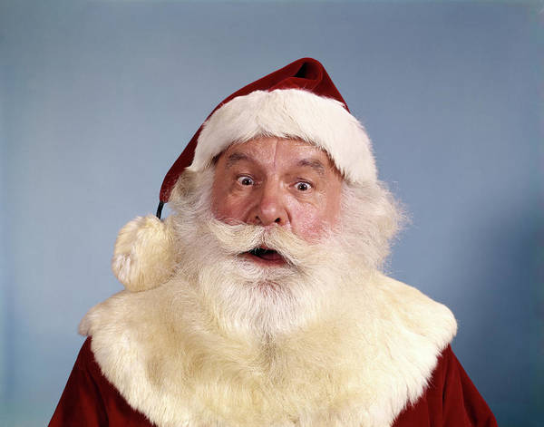 Bug Man Photograph - 1970s Surprised Bug-eyed Santa Clause by Vintage Images