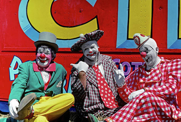 Joyful Photograph - 1970s Three Circus Clowns In Colorful by Vintage Images