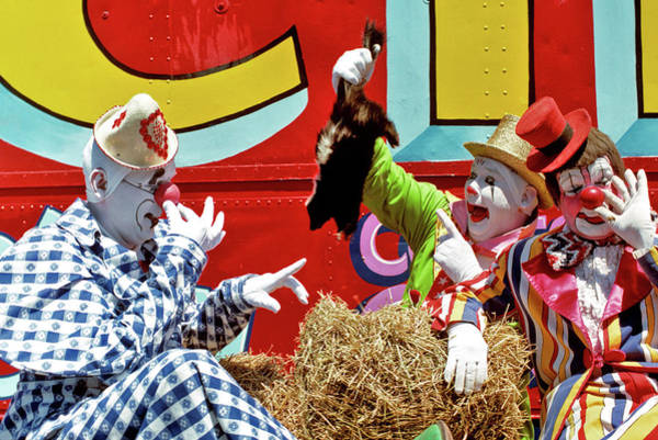 Skunk Photograph - 1970s Three Circus Clowns With Skunk by Vintage Images