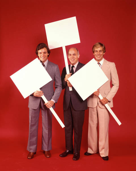 Placard Photograph - 1970s Three Smiling Businessmen Men by Vintage Images