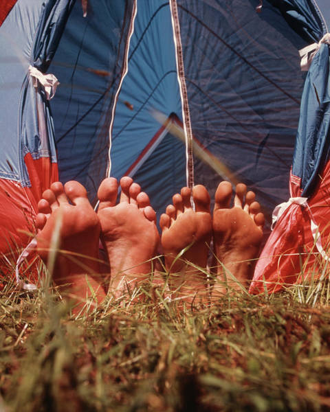 Campsite Wall Art - Photograph - 1970s Two Pair Bare Feet Sticking by Vintage Images