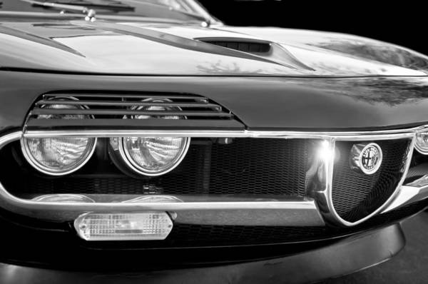 Old Montreal Photograph - 1971 Alfa Romeo Montreal Grille Emblem -0019bw by Jill Reger