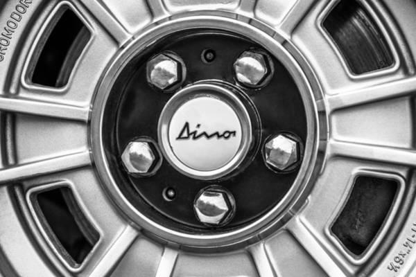Photograph - 1971 Ferrari Dino 246 Gt Wheel Emblem -0369bw by Jill Reger