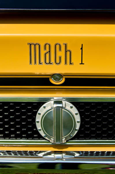 Ford Mustang Photograph - 1971 Ford Mustang Mach 1 Emblem -0483c by Jill Reger