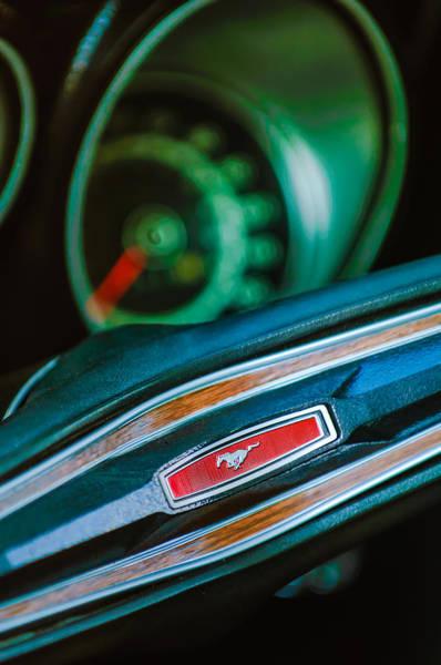 Photograph - 1971 Ford Mustang Mach 1 Steering Wheel Emblem by Jill Reger