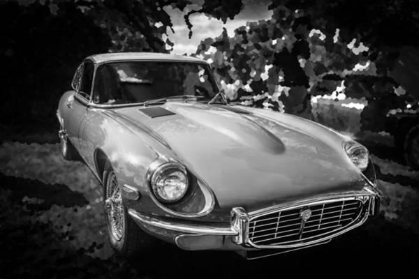 Photograph - 1971 Jaguar 3 Series E Type 2 Plus 2 Bw by Rich Franco