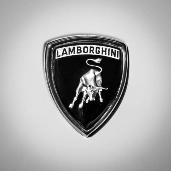 Photograph - 1971 Lamborghini Miura Sv Emblem -0376bw by Jill Reger