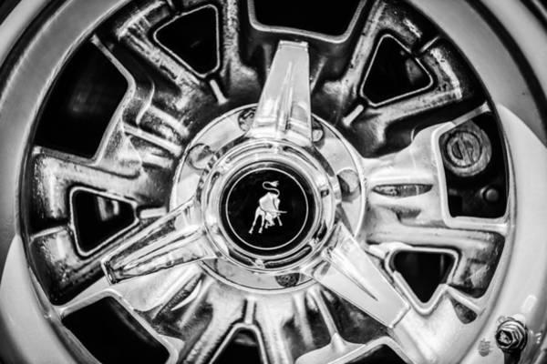 Photograph - 1971 Lamborghini Miura Sv Wheel Emblem -0982bw by Jill Reger