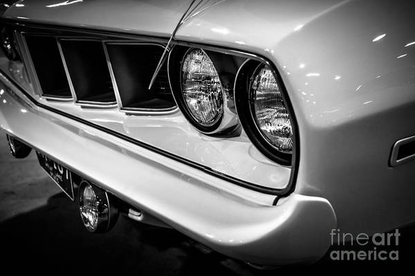Mopar Photograph - 1971 Plymouth Cuda Black And White Picture by Paul Velgos
