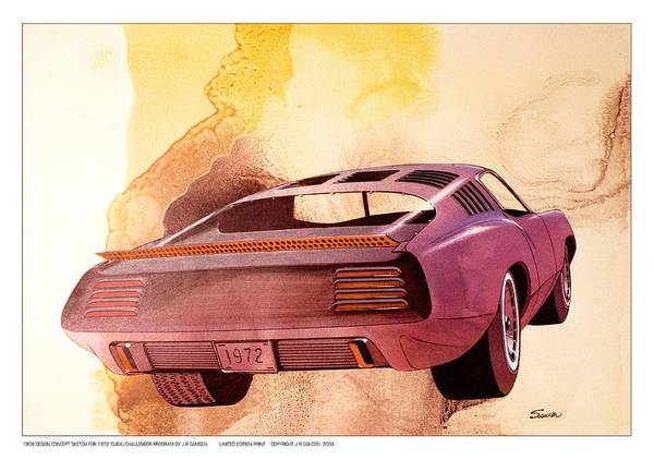 Wall Art - Drawing - 1972 Barracuda  B Cuda  Plymouth Vintage Styling Design Concept Rendering by John Samsen