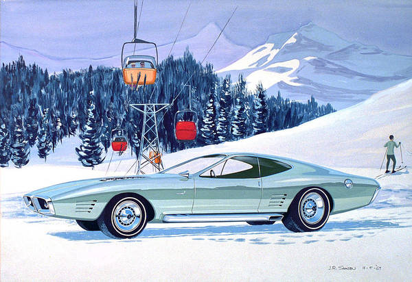 Wall Art - Painting - 1972 Barracuda Cuda Plymouth  Vintage Styling Design Concept Rendering Sk by John Samsen