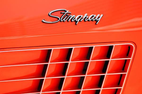 1972 Photograph - 1972 Chevrolet Corvette Stingray Emblem 3 by Jill Reger