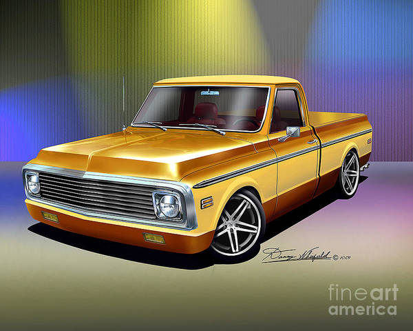 1972 Mixed Media - 1972 Chevrolet Custom Pickup Truck by Danny Whitfield