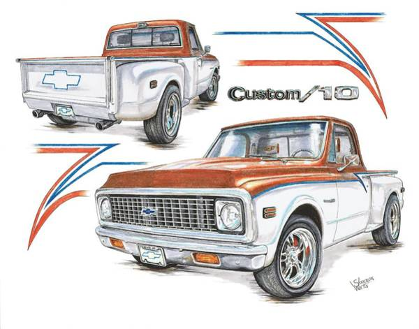 Chevrolet Drawing - 1972 Chevy C-10 Pickup by Shannon Watts