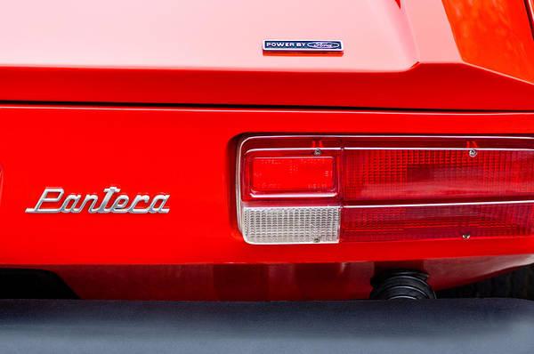 1972 Photograph - 1972 De Tomaso Pantera Taillight Emblem by Jill Reger