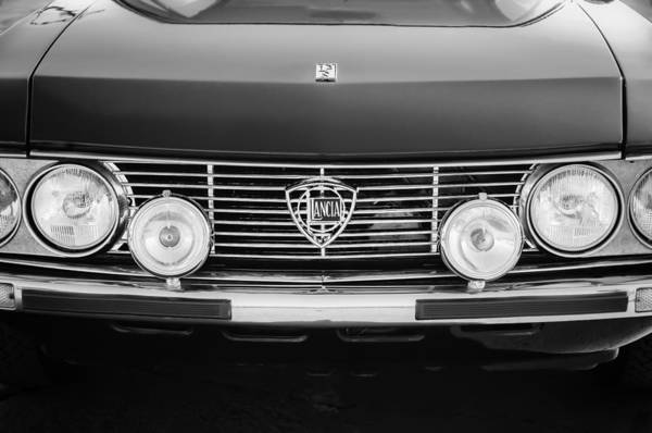 Photograph - 1972 Lancia Fulvia Grille Emblem -0051bw by Jill Reger
