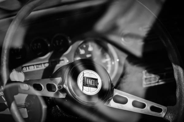 Photograph - 1972 Lancia Fulvia Steering Wheel Emblem -0435bw by Jill Reger