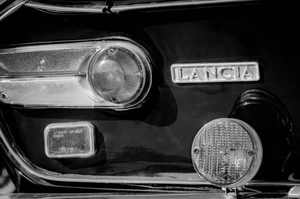 Photograph - 1972 Lancia Fulvia Taillight Emblem -0418bw by Jill Reger