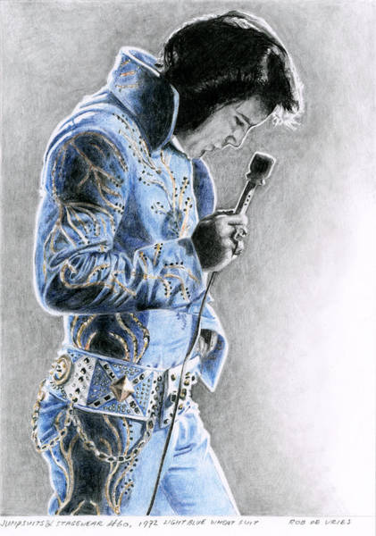 Elvis Wall Art - Drawing - 1972 Light Blue Wheat Suit by Rob De Vries