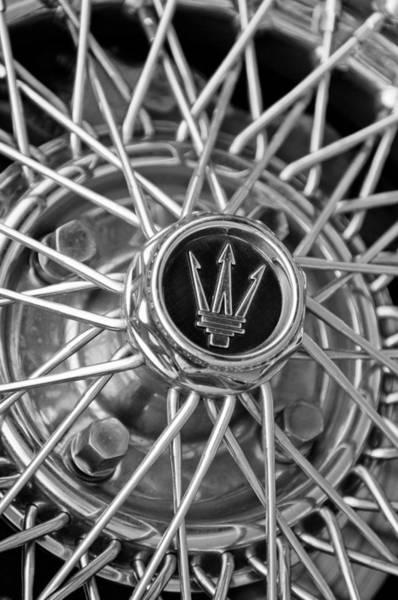 Photograph - 1972 Maserati Ghibli 4.9 Ss Spyder Wheel Emblem by Jill Reger