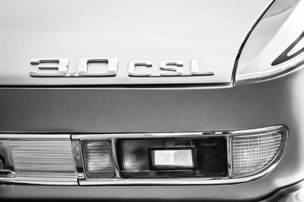 0 Wall Art - Photograph - 1973 Bmw 3.0 Csl Side Taillight Emblem -1298bwq by Jill Reger