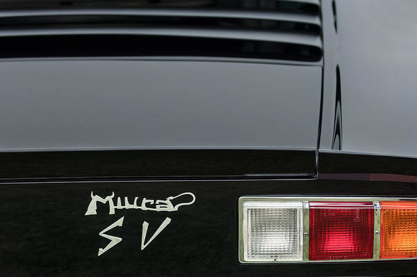Photograph - 1973 Lamborghini Miura Sv Berlinetta Taillight Emblem by Jill Reger