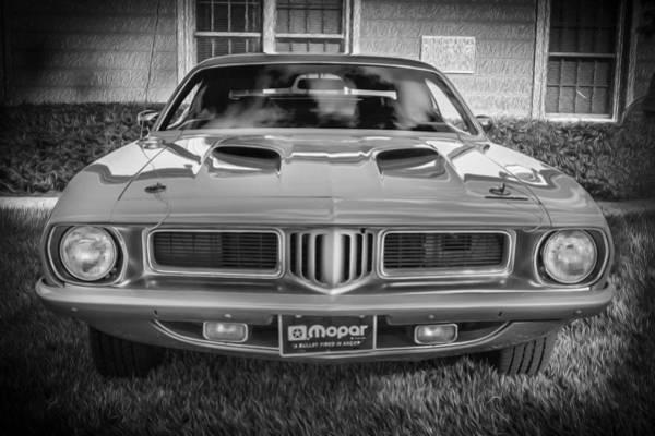 Photograph - 1973 Plymouth Hemi Barracuda Bw  by Rich Franco