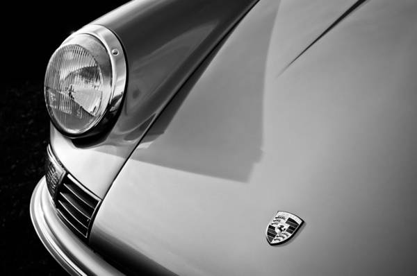 Photograph - 1973 Porsche 911 S Hood Emblem -0399bw by Jill Reger