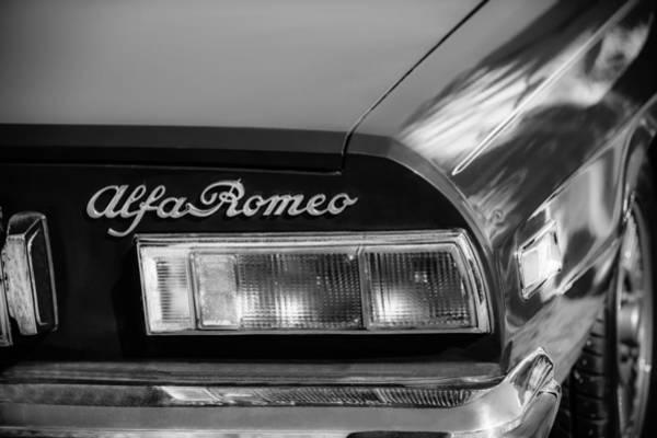 Photograph - 1974 Alfa Romeo Spider Iniezione 2000 Taillight Emblem -2301bw by Jill Reger