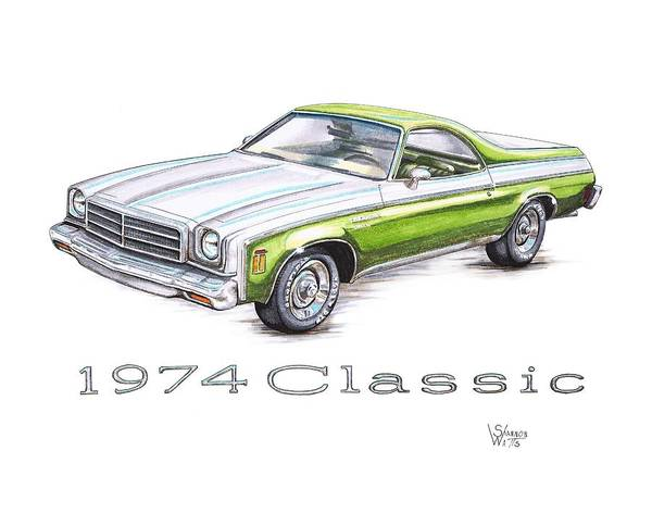 Chevrolet Drawing - 1974 El Camino Classic by Shannon Watts